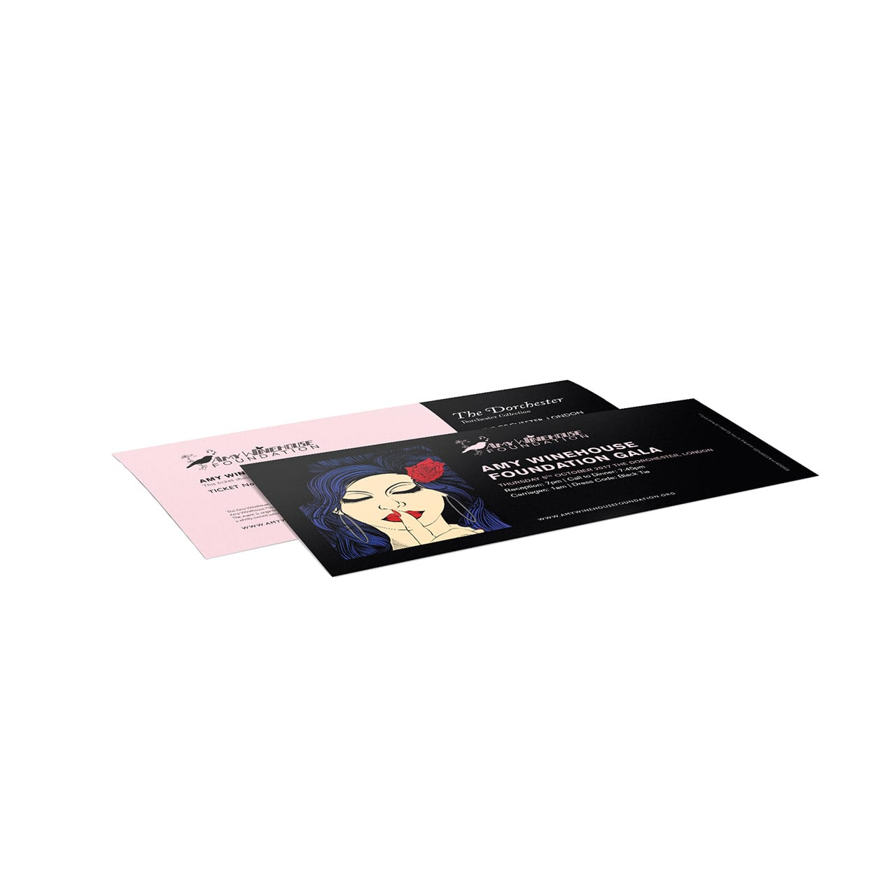 Two branded ticket designs for the Amy Winehouse Foundation Gala event