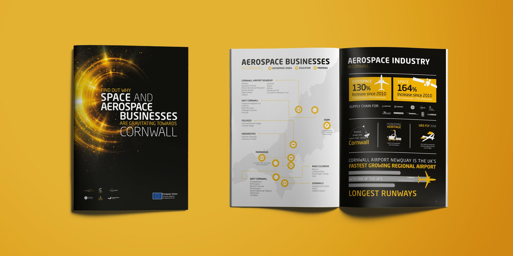An image of the Aerospace Cornwall branded event brochure design from above. Displaying a double page spread and a front cover design.