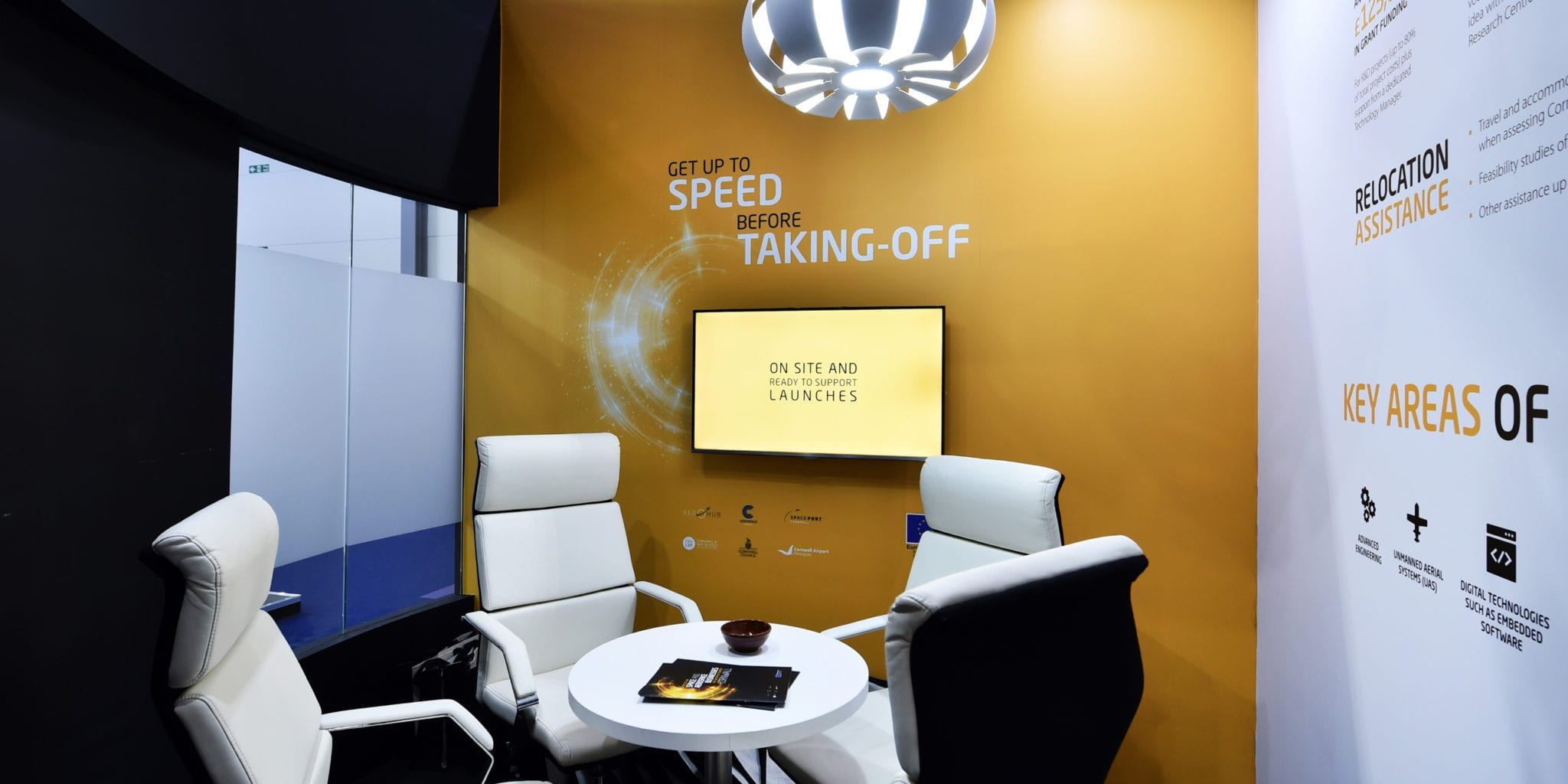 Interior meeting room branding and design Aerospace Cornwall stand at Farnborough International Airshow