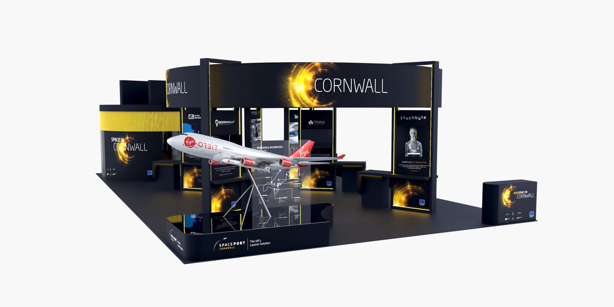 Complete 3D render of the Aerospace Cornwall Event stand with large Virgin Orbit 747 Cosmic Girl aircraft model included