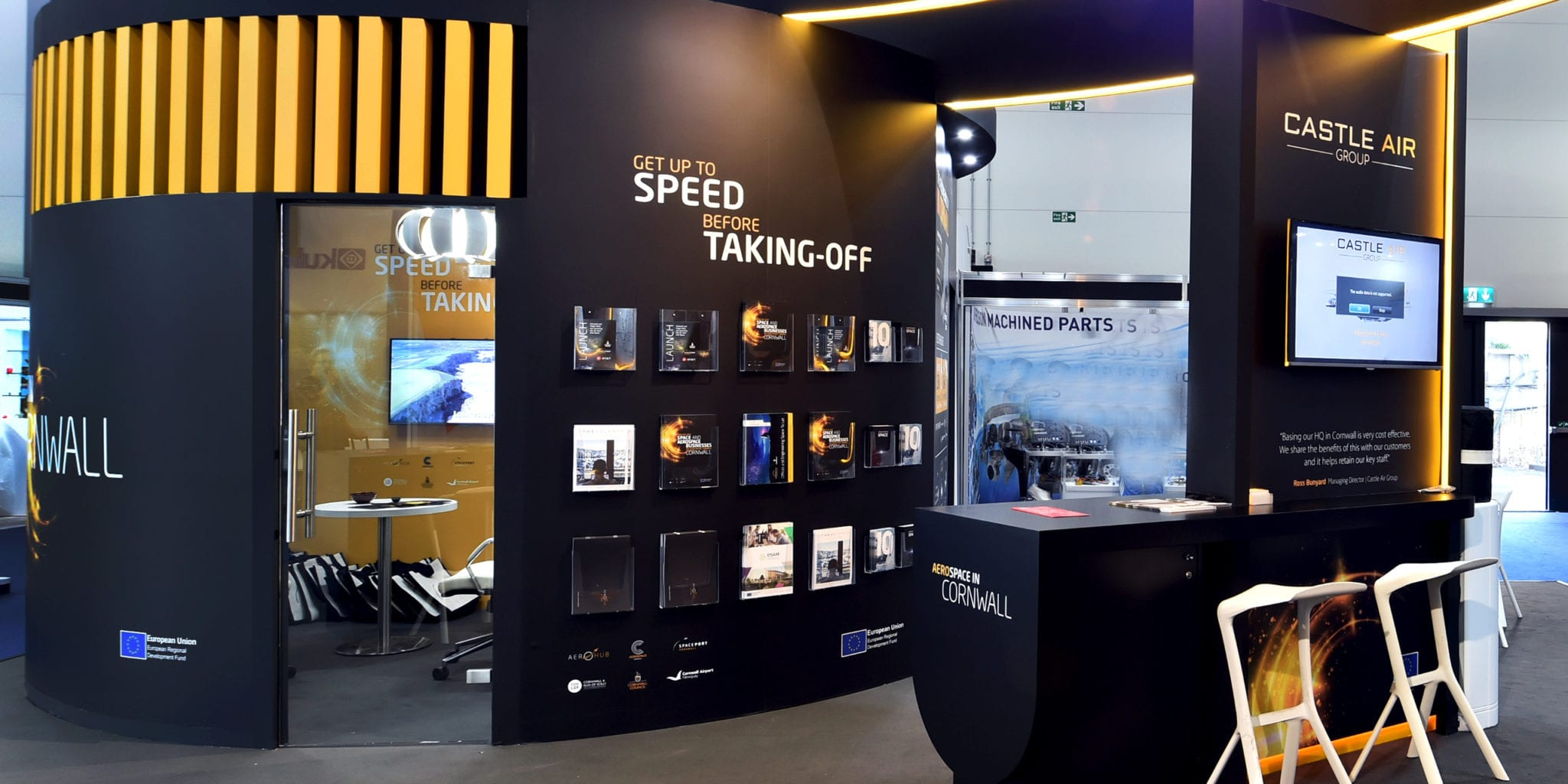 Interior exhibition stand design for Aerospace Cornwall at Farnborough International Airshow
