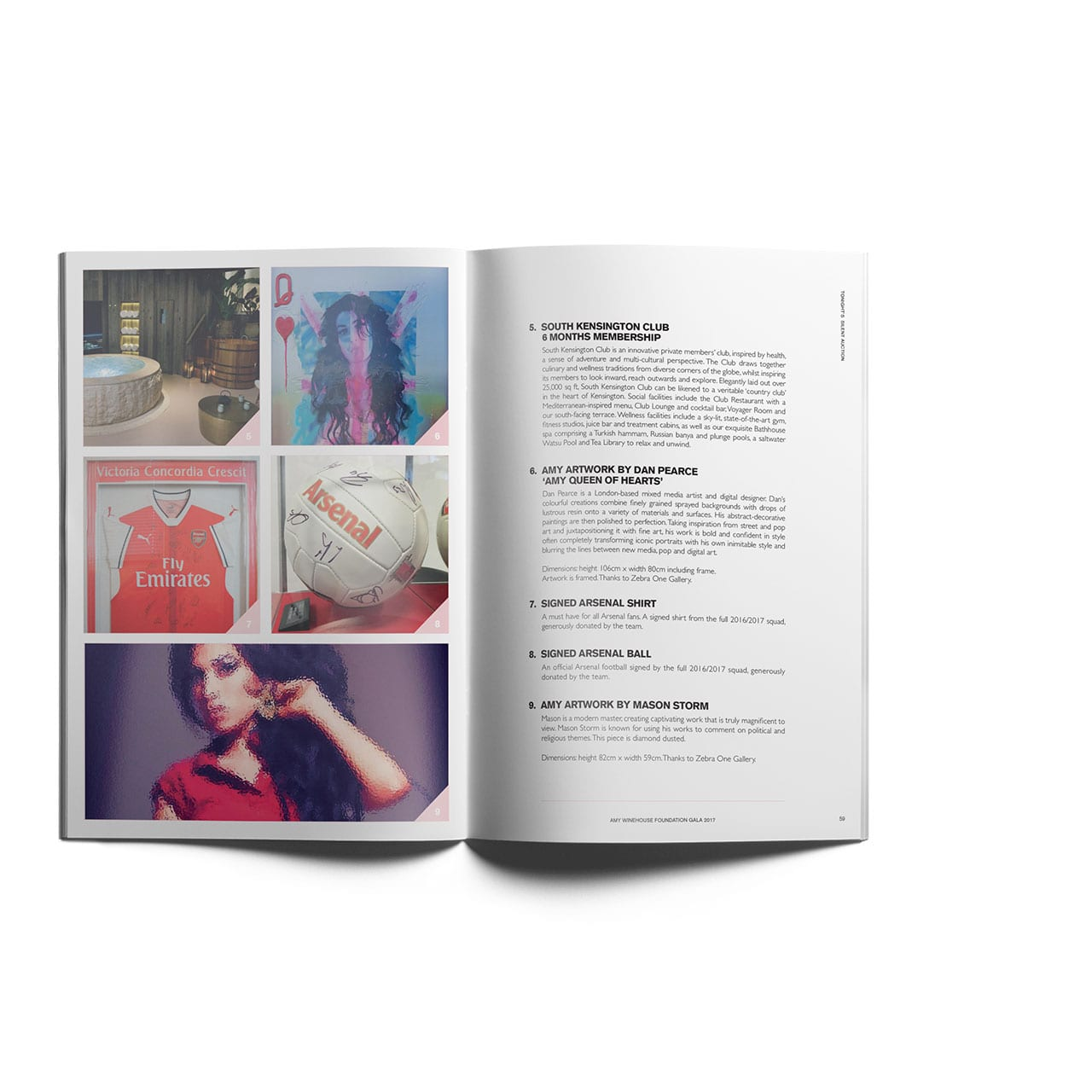 Image of the auction page designs in the Amy Winehouse Foundation Gala event programme.