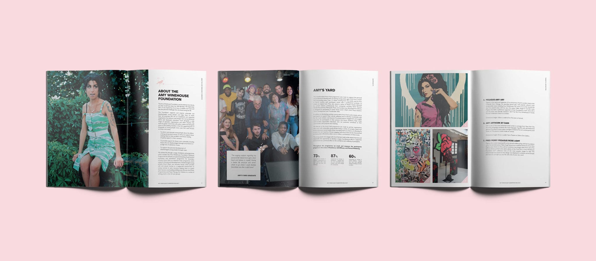 Three open programmes showing the brochure design for the Amy Winehouse Foundation Gala event