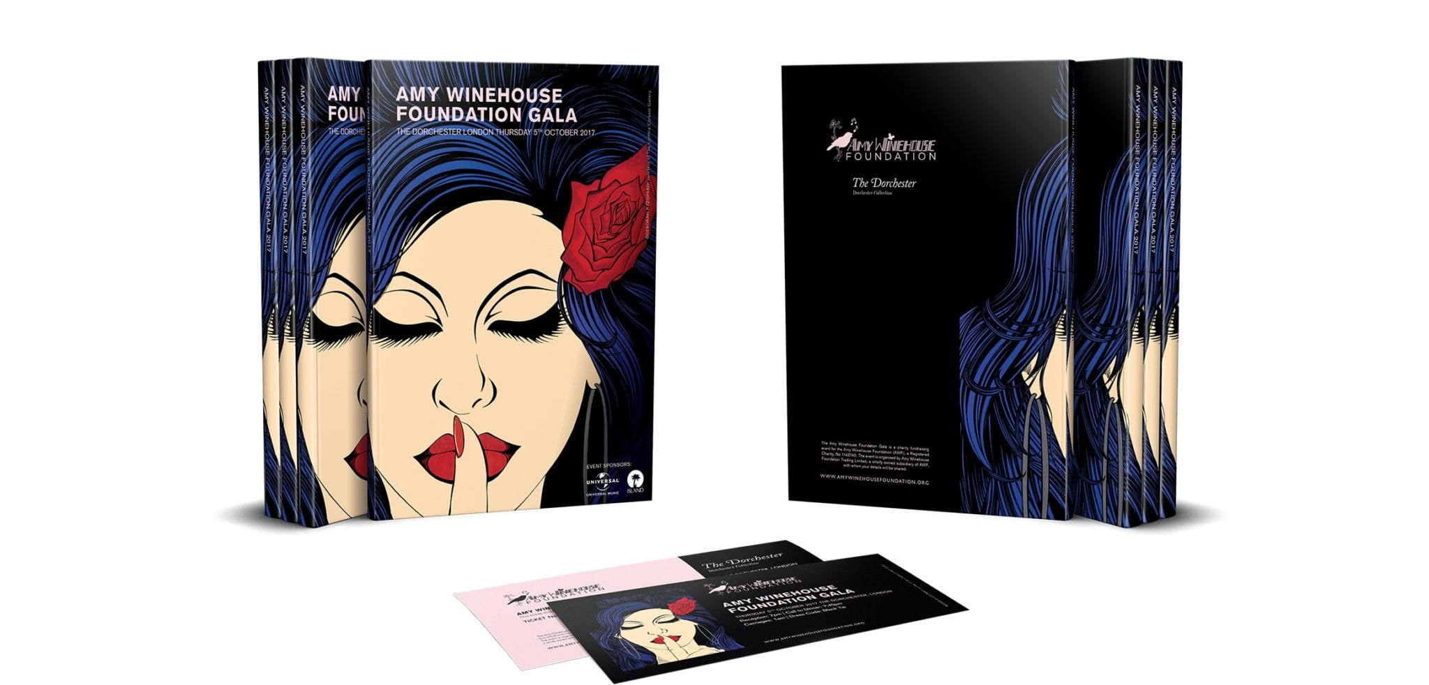 Front and rear event brochures and two ticket designs for the Amy Winehouse Foundation Gala