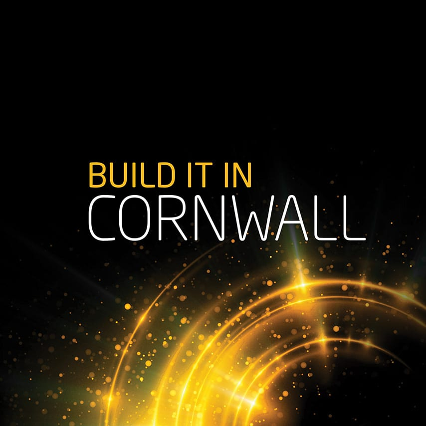 Identity design and copy line for branded lego event merchandise. The Copy reads 'Build it in Cornwall'
