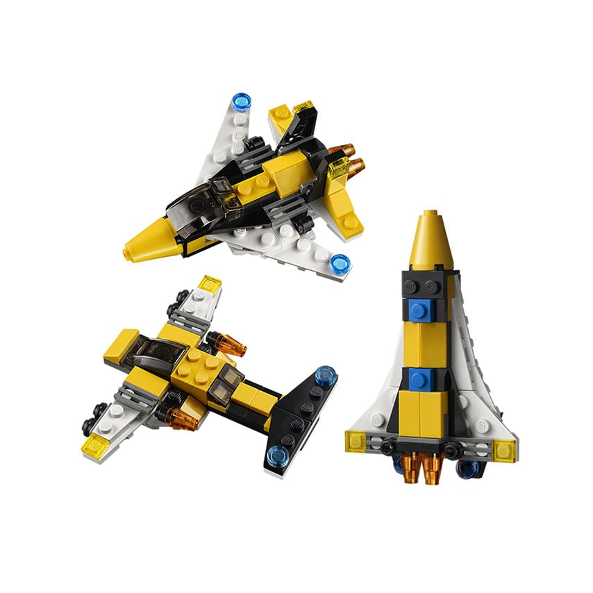 Three mini lego models for Aerospace and Space branded lego event merchandise concept.