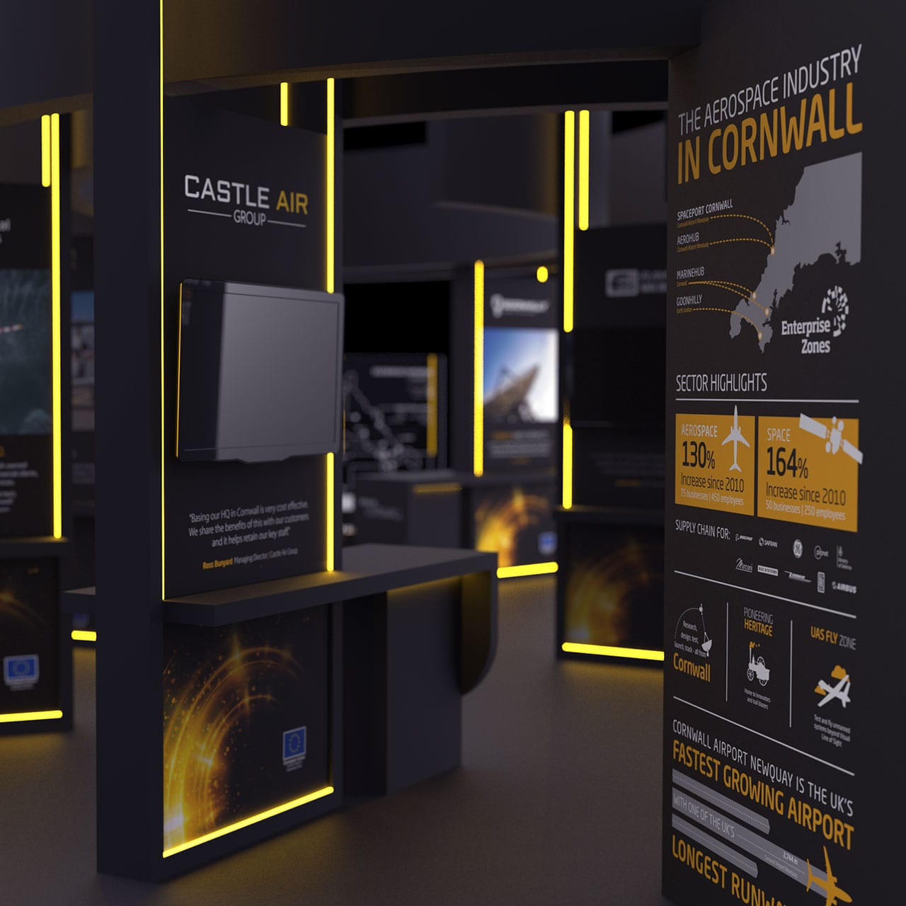 3D render of the interior design of the exhibition stand for Aerospace and Spaceport Cornwall