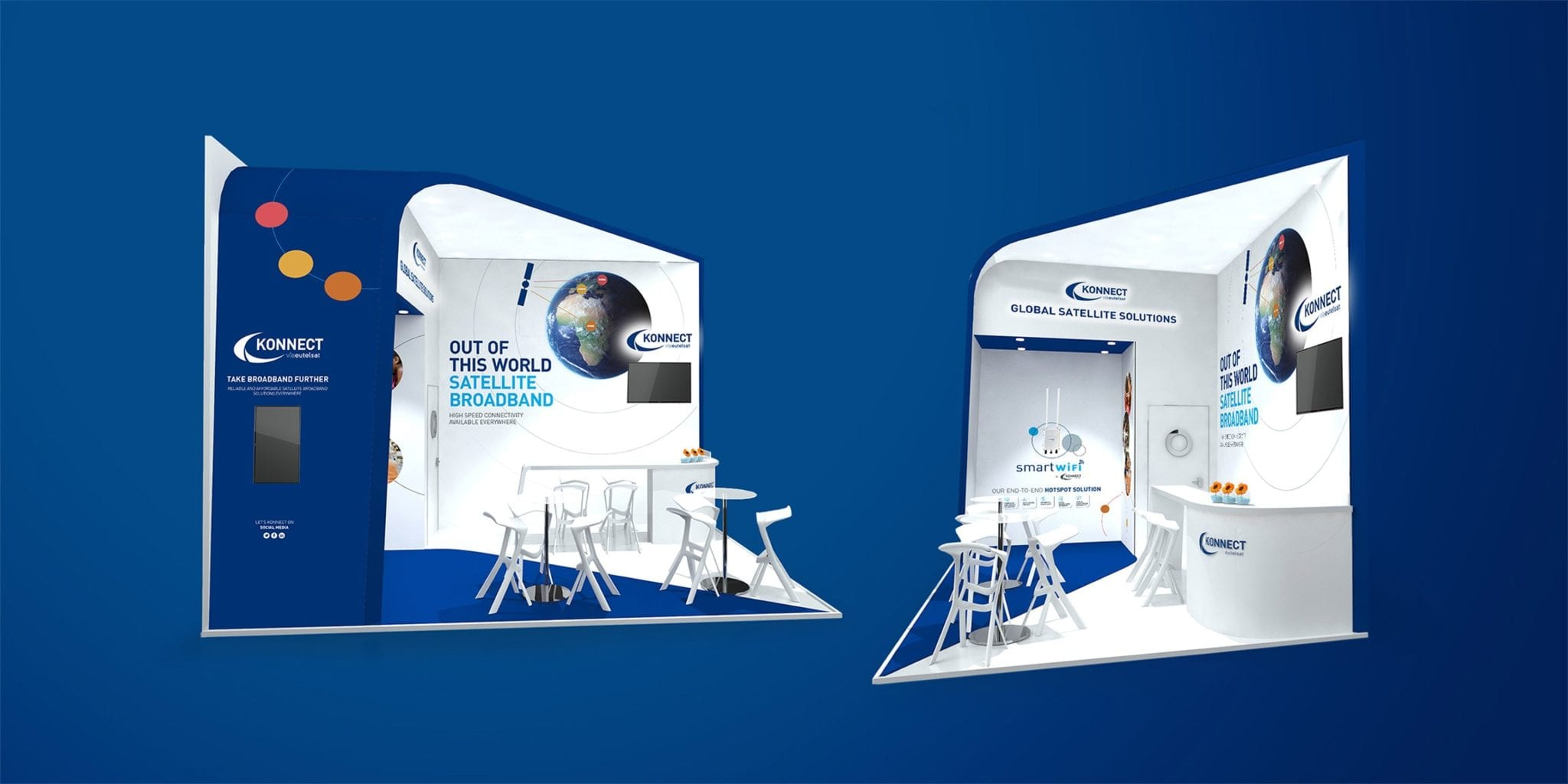 Konnect 3d render of the exhibition stand design from two perspectives on a blue background