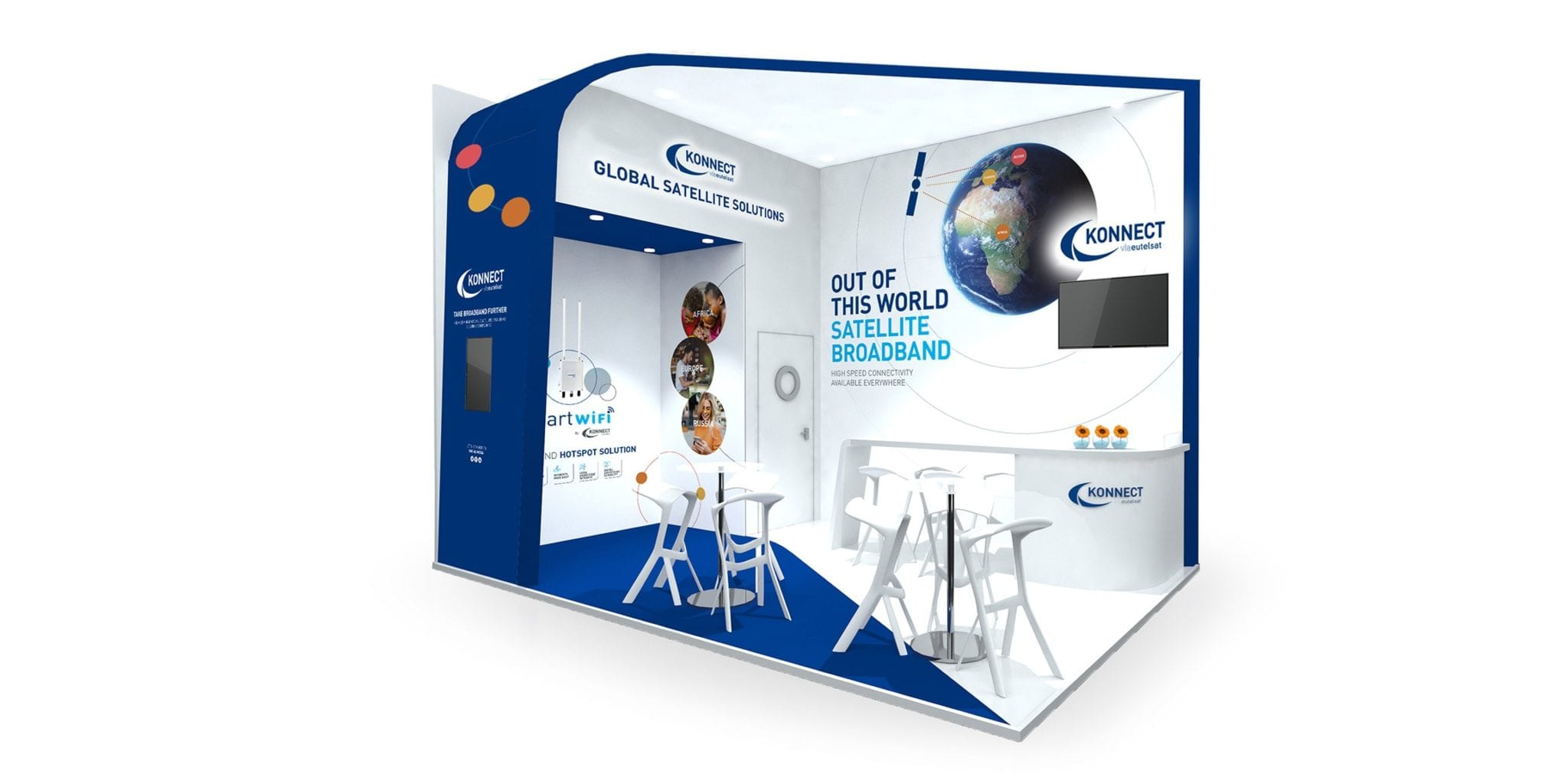 A single 3d render of the Konnect exhibition stand design and complete branding