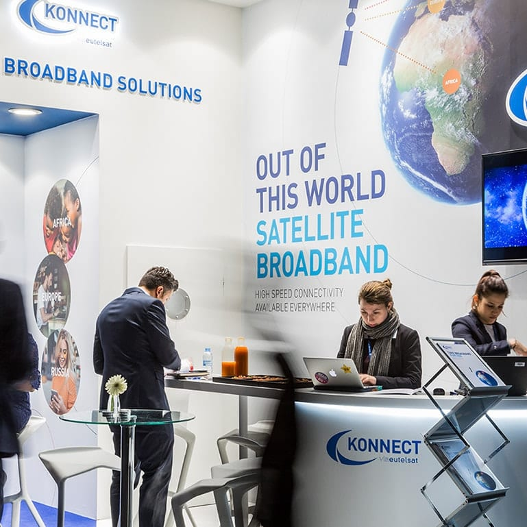 The Konnect team on the stand at the Mobile World Congress exhibition
