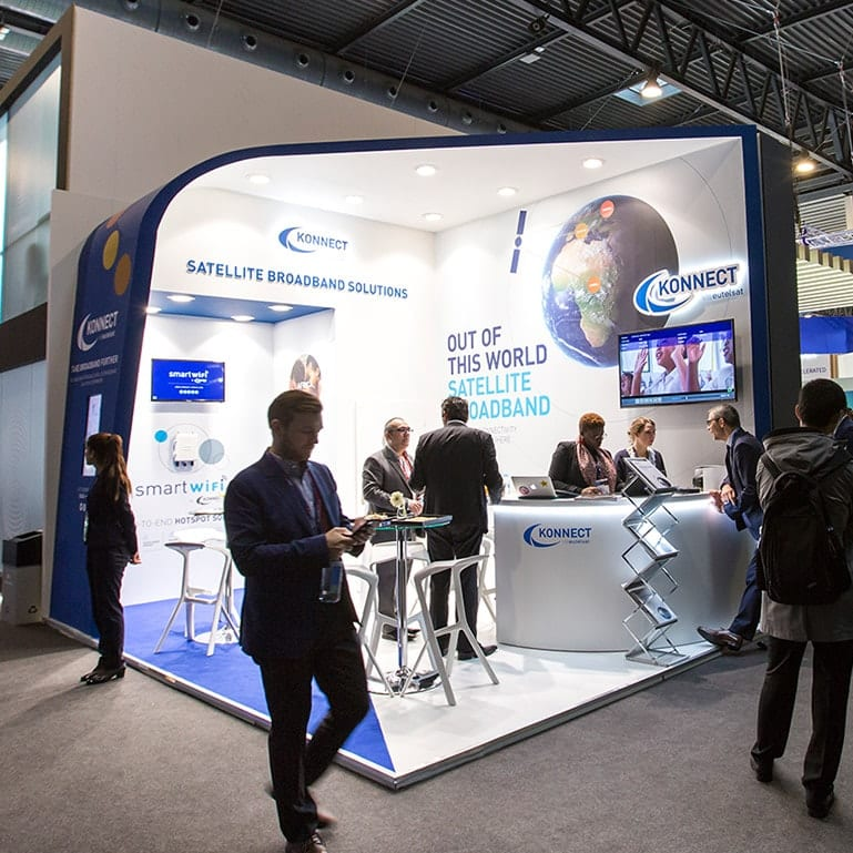A photograph of the exhibition stand during the Mobile World Congress exhibition