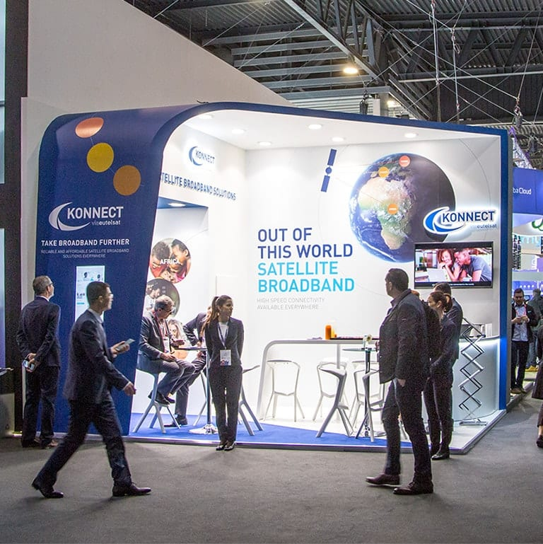 A photograph of the exhibition stand design at the Mobile World Congress exhibition