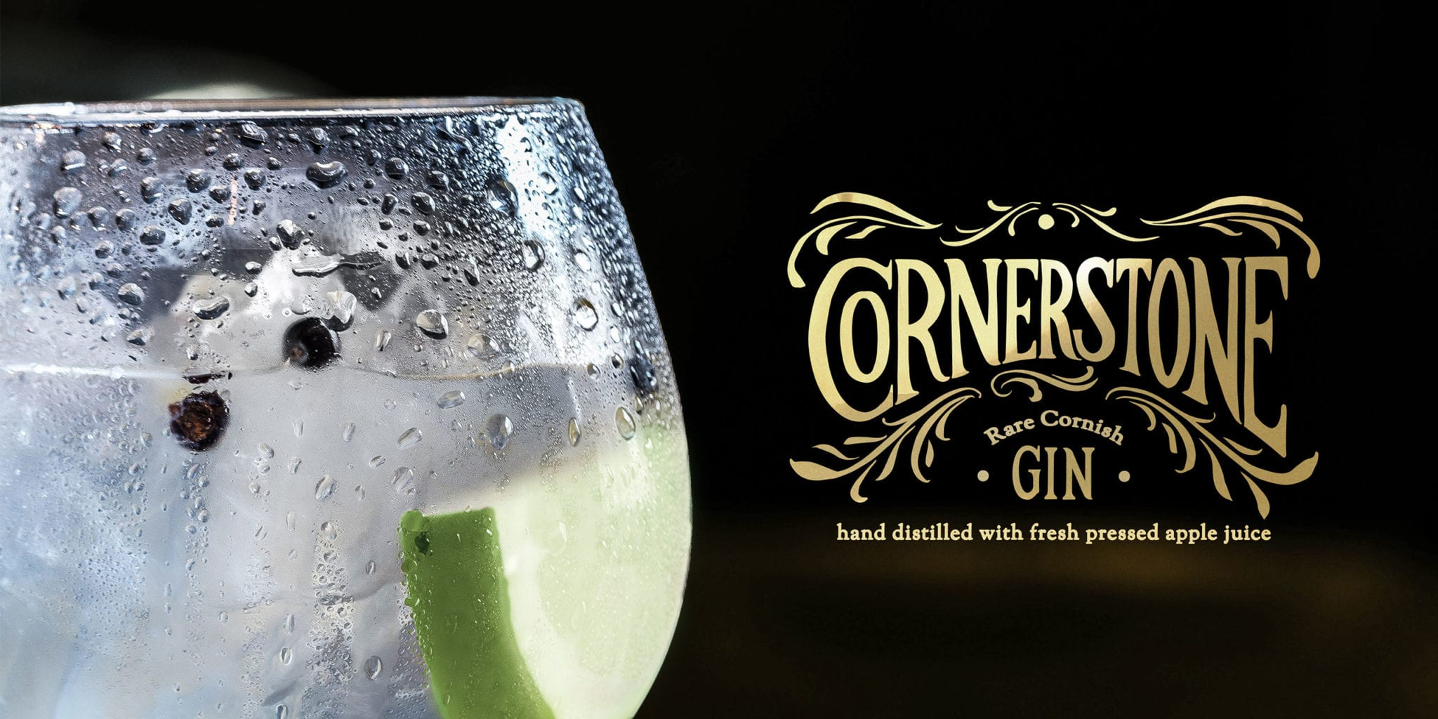 A glass of gin with apple in it along with the Cornerstone gin branding overlaid to the right