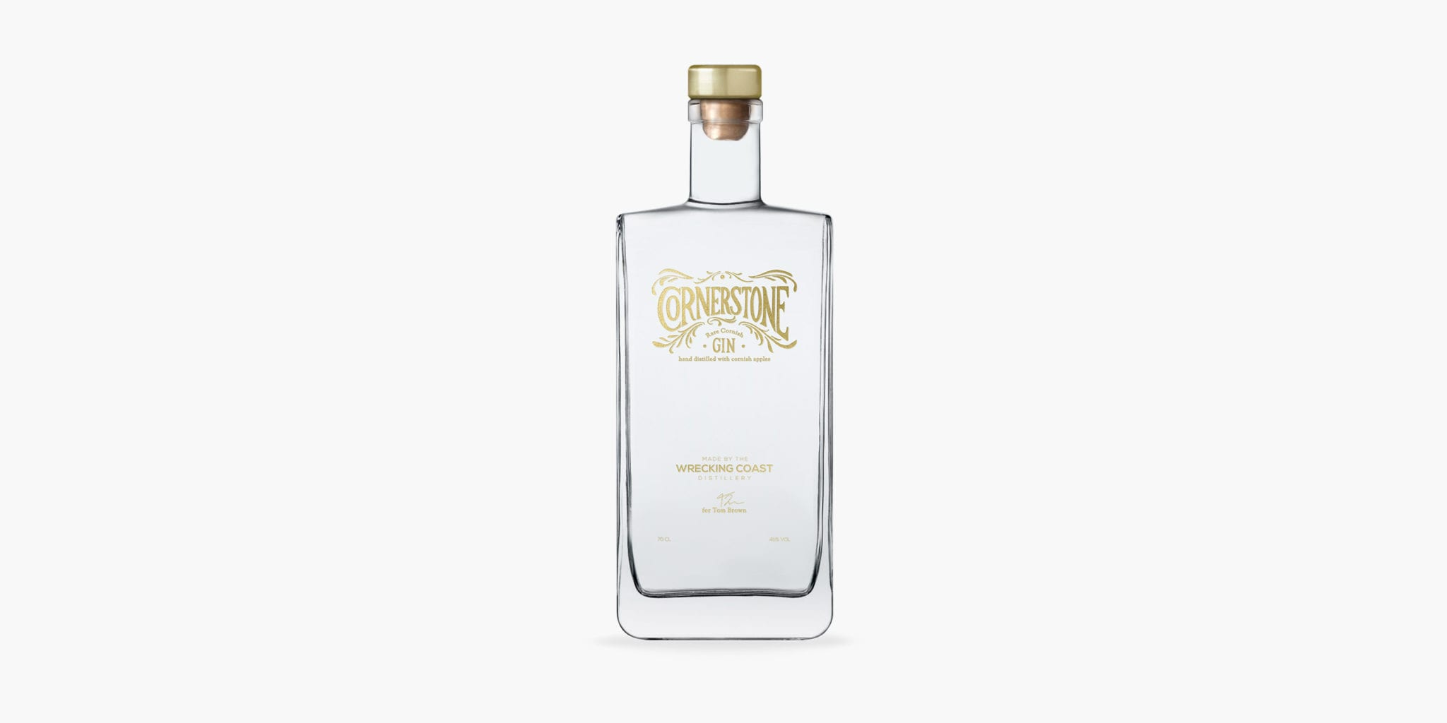 A simple pack shot of the Cornerstone gin bottle and label design