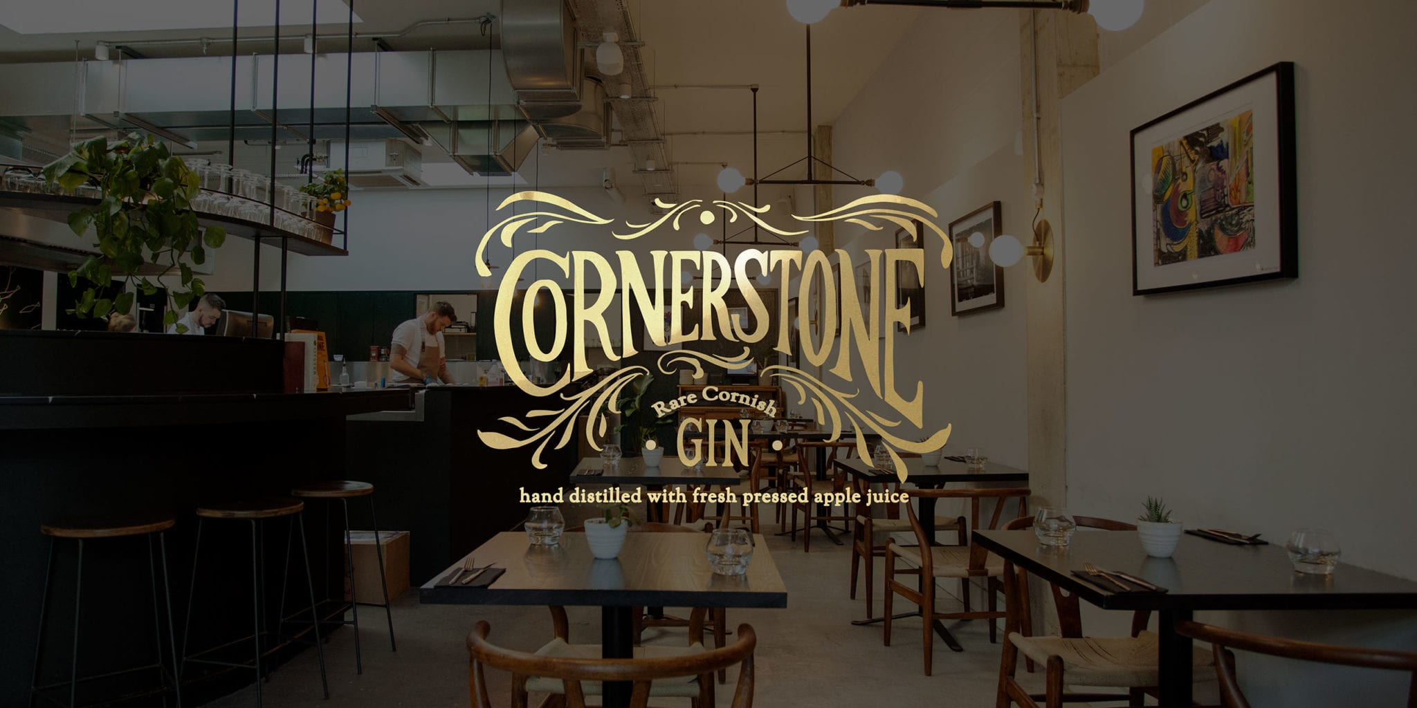 The Cornerstone logo and gin branding on top of a photograph of the Cornerstone Hackney Wick London restaurant