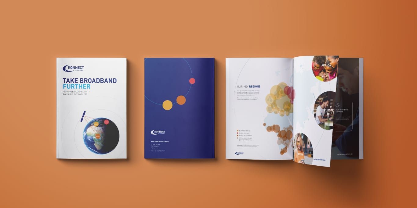 Konnect Brochure design for the Mobile World Congress, image from above showing front cover design and inside spread