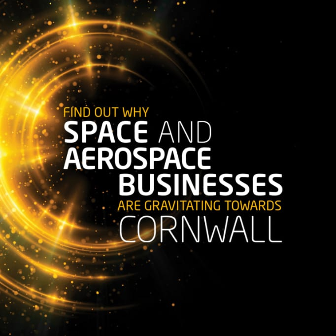 Brand and visual Identity design with copy 'find out why space and aerospace businesses are gravitating towards cornwall'