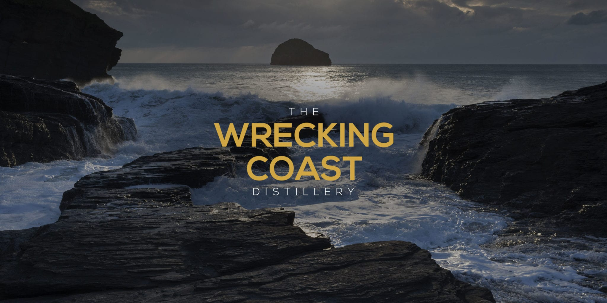 The Wrecking Coast identity on a branded image of gull rock from the Cornish coast