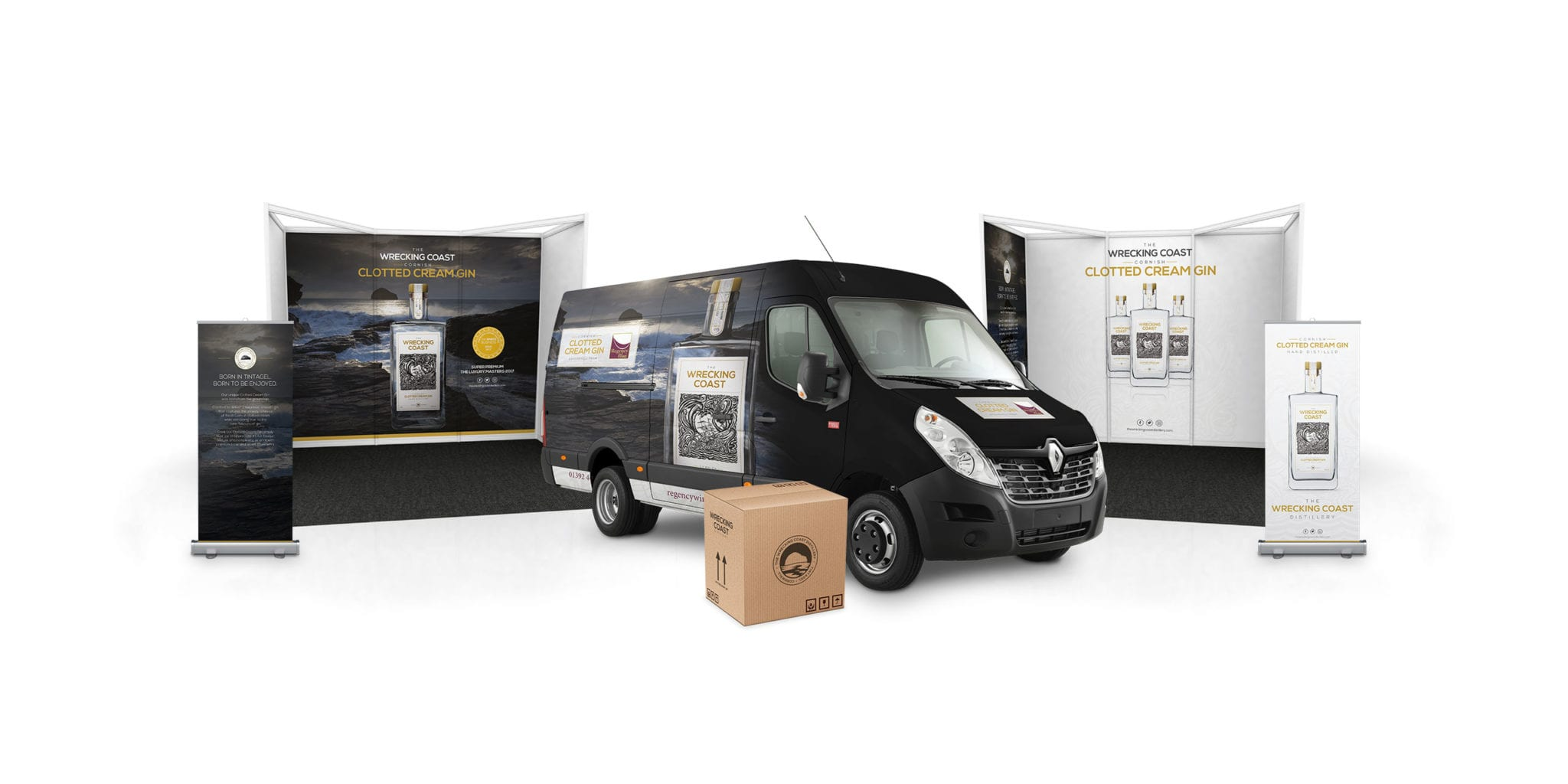 Two branded exhibition stands with roll-up banners, branded van livery and cardboard packaging design.