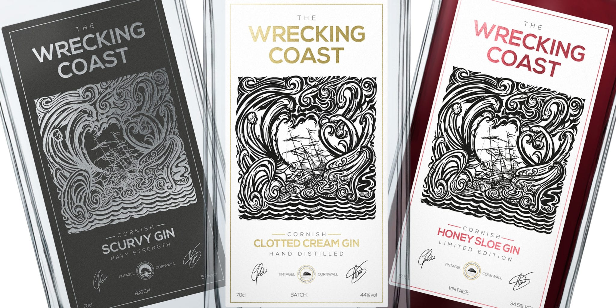 Close-up of The Scurvy Gin, Clotted Cream Gin and Sloe Gin spirit label designs