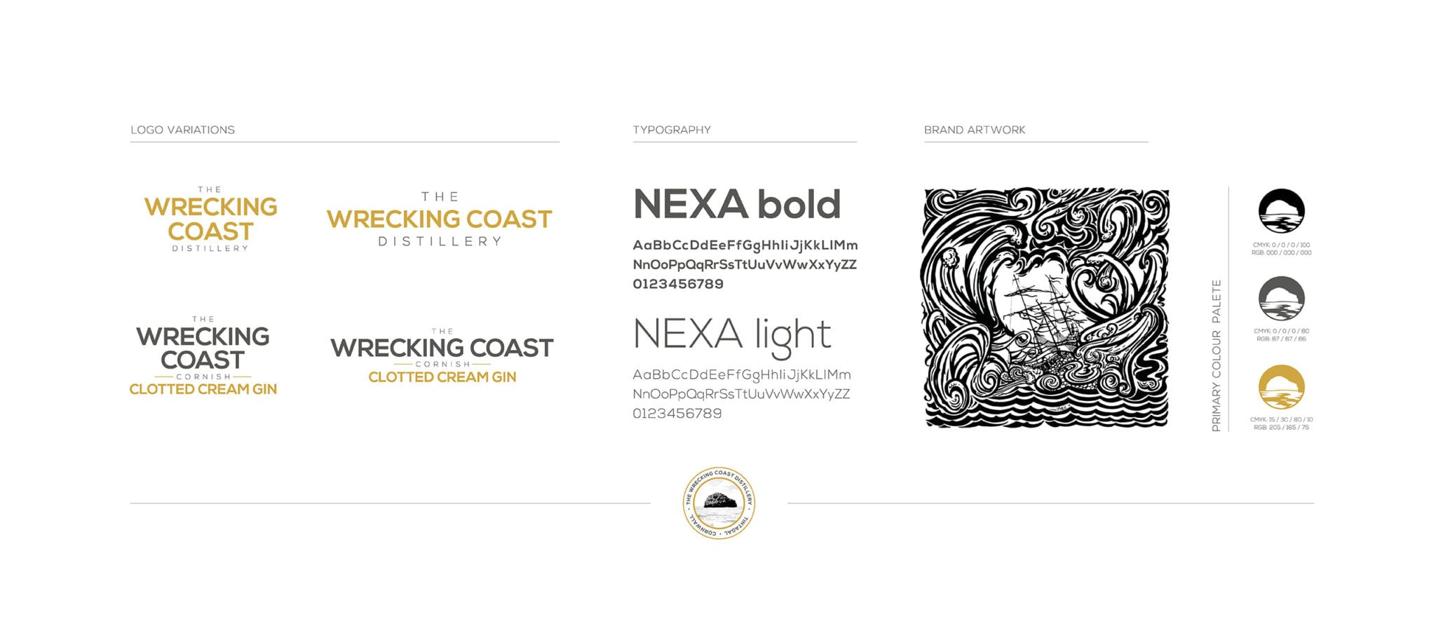 The Wrecking Coast Distillery Identity brand guide examples